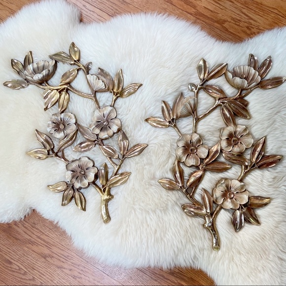 Vintage Syroco Flower Wall Decor Set Boho Home